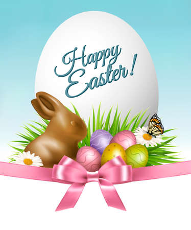 Happy Easter background. Colorful eggs and chocolate bunny on green grass. Vector.