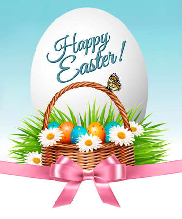 Happy Easter background. Colorful eggs and basket on green grass. Vector. Illustration