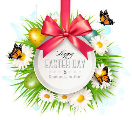 Spring Easter Background Eggs In Grass With Flowers Vector
