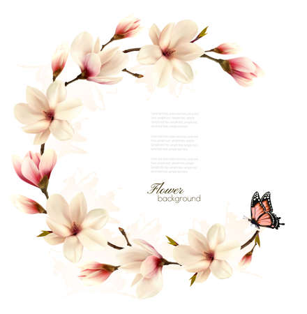 Nature background with blossom branch of white magnolia and butterfly. Vector