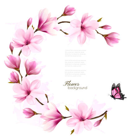 Nature background with blossom branch of pink flowers. Vector Illustration