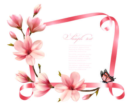 Nature background with blossom branch of pink magnolia and ribbon. Vector