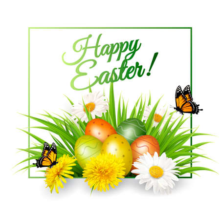 easter background: Happy Easter background. Colorful eggs on green grass and flowers. Vector.