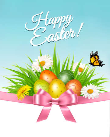 Happy Easter background. Colorful eggs and daisy on green grass. Vector.