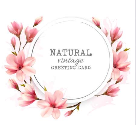 crecimiento planta: Natural vintage greeting card with pink magnolia. Vector.