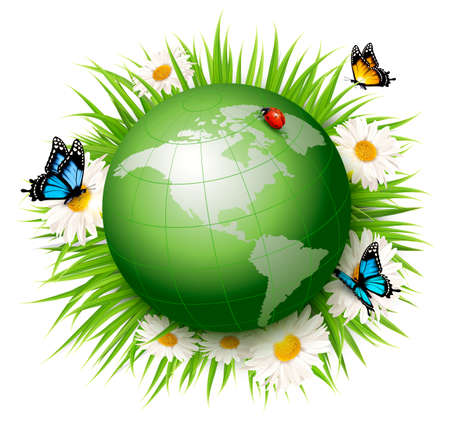 green buildings: Ecology concept.Green Globe and Grass with Flowers. Vector illustration. Illustration