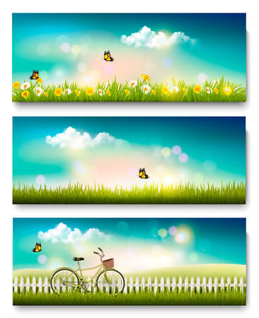 grass land: Set of spring nature landscape banners with flowers and butterflies. Vector.