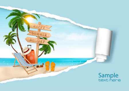 relaxation: Summer vacation background. Vector. Illustration