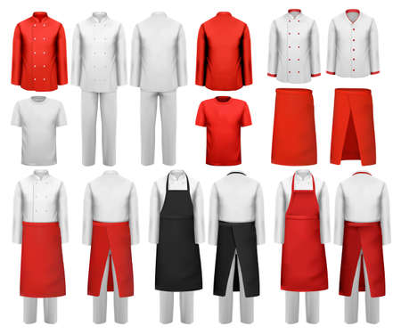 work clothes: Big set of culinary clothing, white and red suits and aprons. Vector.