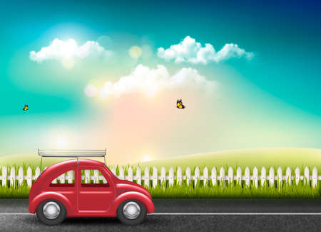 Countryside landscape with a road and a red car. Vector. Illustration