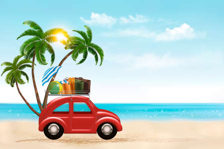 relax: Beach background with a tourist car. Vector. Illustration