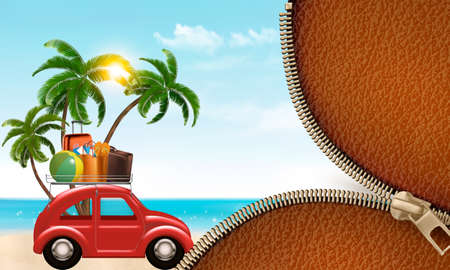 Beach background with a tourist car. Vector. Illustration
