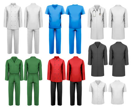 Set of white and colorful work clothes. Design template. Vector illustration. Illustration