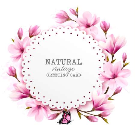 petal: Natural vintage greeting card with pink magnolia. Vector.
