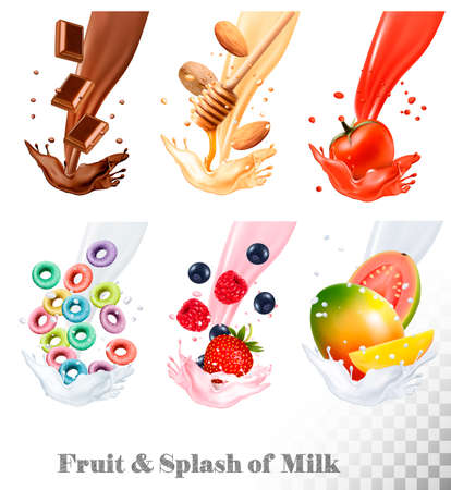 Set of three labels of of fruit in milk splashes. Fruit loops, chocolate, strawberry, almond, blueberry, mango, guava, tomato. Vector. Stock Vector - 76943611