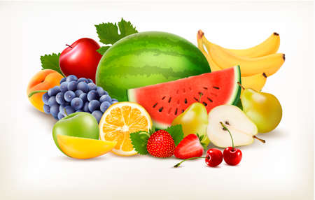 Big collection of different fresh fruit. Vector. Vettoriali