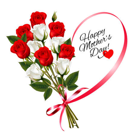 Red roses with a heart-shaped Happy Mothers Day note and red ribbon. Vector.
