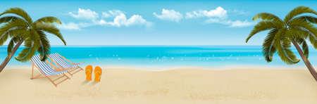 Spiaggia con palme e sdraio. Priorità bassa di concetto di vacanze estive. Vettore.