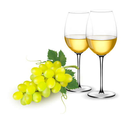 White wine glasses and grapes. Vector