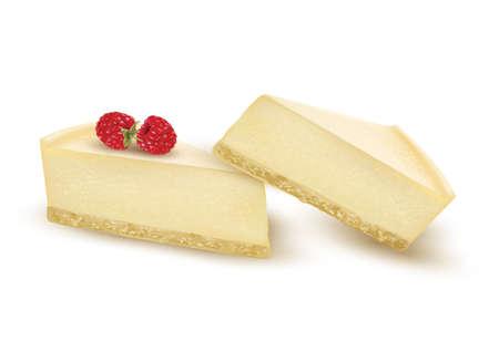 porcion de torta: Rebanada de pastel de queso decorado con bayas de frambuesa. Vector