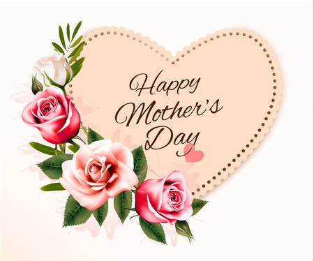 card: Happy Mothers Day background with a heart-shaped card and colorful flowers. Vector.