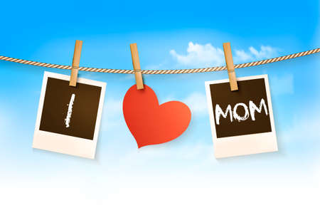 Photos hanging on a clothesline, spelling out I love mom. Mothers Day background. Vector.