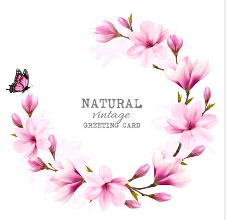 japanese garden: Natural vintage greeting card with pink magnolia. Vector.