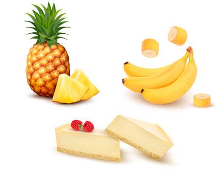 다른 과일과 사막의 집합입니다. 파인애플, 바나나, 치즈 케이크. 벡터.