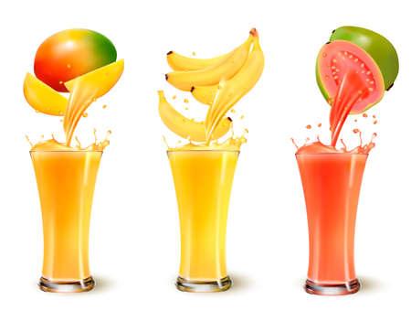 guayaba: Conjunto de salpicaduras de jugo de fruta en un vaso. Mango, plátano y guayaba. Vector