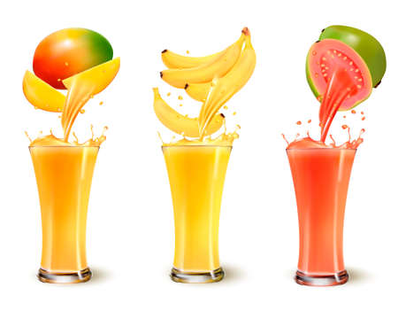 Set of fruit juice splash in a glass. Mango, banana and guava. Vector