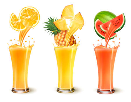 Set vruchtensap splash in een glas. Sinaasappel, ananas en watermeloen. Vector