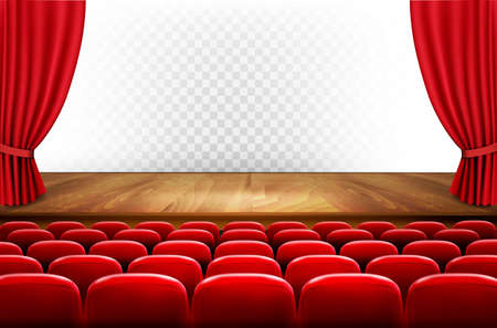 movie theater: Rows of red cinema or theater seats in front of transparent background. Vector