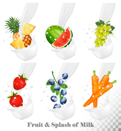 carot: Set of different milk splashes with fruit, nuts and berries. Watermelon, grape, carot, strawberry, blueberry, pineapple. Vector Set.