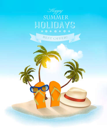 Summer holidays background. Vacation memories. Vector.