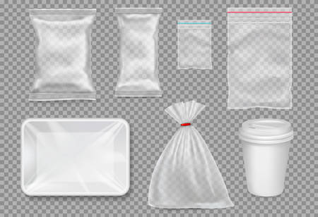 Big set of plastic packaging - sacks, tray, cup. Vector. Vectores