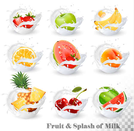 Big collection of fruit in a milk splash. Pineapple, cherry, banana, apple, watermelon, peach, guava, strawberry, orange. Vector Set 14. Illustration