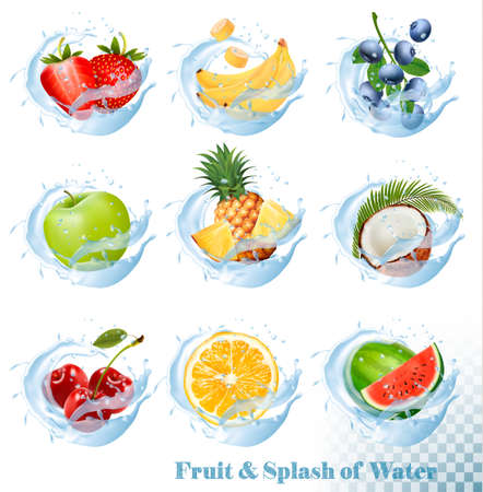 Big collection of fruit in a water splash icons. Pineapple, apple, banana, watermelon, blueberry, guava, strawberry, coconut, cherry, raspberry, orange. Vector Set Illustration