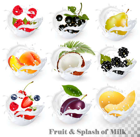 Big collection of fruit in a milk splash. Strawberry, blackberry, grandberry, plum, pear, peach, strawberry, coconut, honeydew. Vector Set 15. Иллюстрация