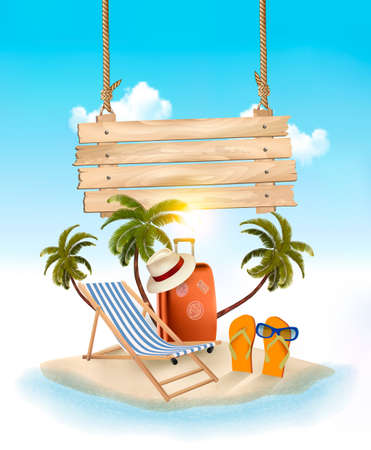 Beach with palm trees and wooden sign. Summer vacation concept background. Vector.
