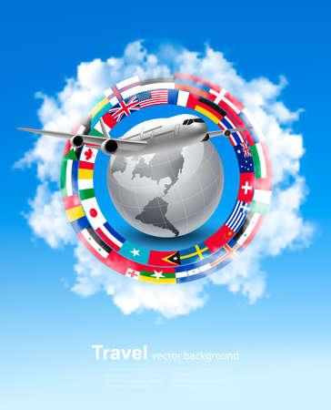 Fond de voyage. Globe avec un avion et un cercle de drapeaux. Vecteur.