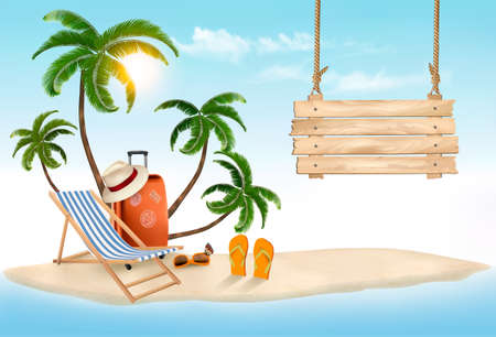 Beach with palm trees and wooden sign. Summer vacation concept background. Vector. Фото со стока - 79703544