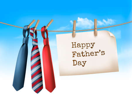 background skype: Happy Fathers Day Background With A Three Ties On Rope. Vector illustration