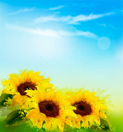 Nature background with yellow sunflowers and blur sky. Vector Illustration