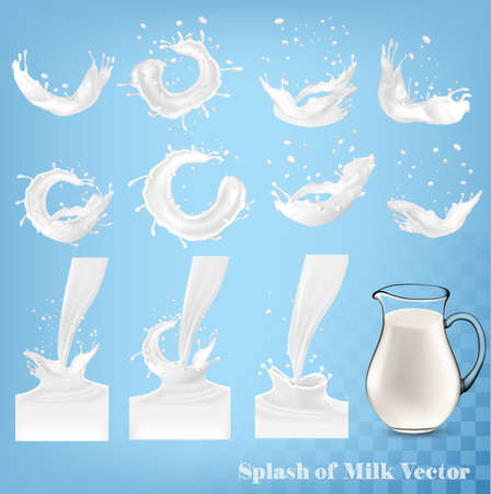 Splash of milk and jug on transparent .