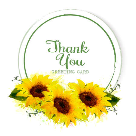 Natural vintage greeting card with yellow sunflowers.