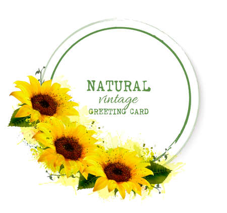 Nature vintage greeting card with yellow sunflowers.