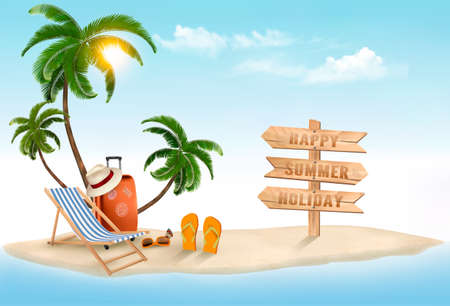 vacaciones en la playa: Tropical island with palms, a beach chair and a suitcase. Vacation vector background. Vector.
