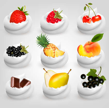 berry: Big collection of fruit in cream. Strawberry, blackberry, cherry, peach, pear, pineapple, strawberry, chocolate. Vector Set.