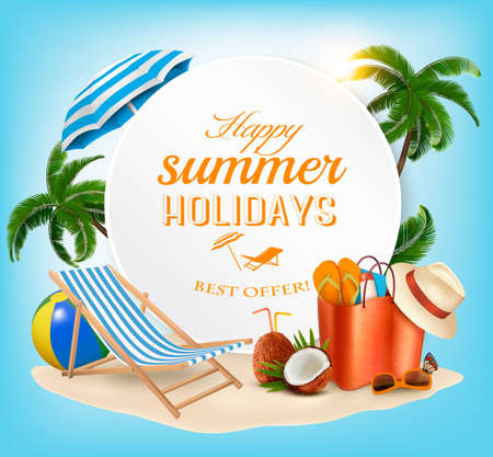 Summer vacation concept background. Vector.