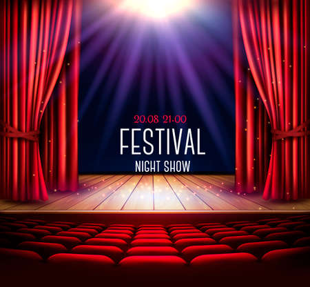 Une scène de théâtre avec un rideau rouge et un projecteur. Affiche du spectacle nocturne du Festival. Vecteur.
